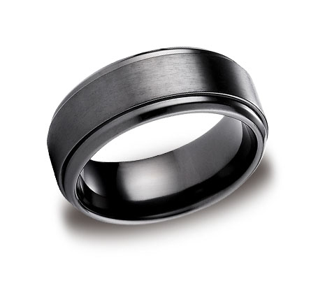 band style fit products benchmark witrh tantalum black wedding brushed rings men grey s finish grande mens comfort